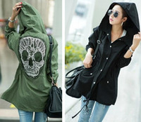Cheap Wholesale-Plus Size 2015 New Winter Women Military Punk Lace Skull Print Oversized Hooded Jacket Outwear Coat Clothing Free Shipping