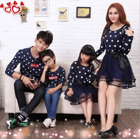 Wholesale Fashion autumn family clothing set tendrils dress clothes for mother and daughter cotton T shirt for father and son family set clothes