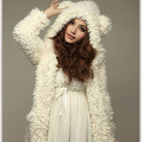 bear ears coat - 2015 Autumn Winter Women New Korean Teddy Bear Plush Rabbit Ears Winter Coat Winter Sweater Influx Of Students TDX2