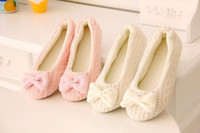 soles - Cute Women Knitted Shoes Soft Sole Bowtie Crochet Indoor Home Shoes Slippers Dancing Yoga Shoes SW013