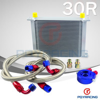 Wholesale PQY STORE AN10 OIL COOLER KIT rows TRANSMISSION OIL COOLER SILVER OIL FILTER ADAPTER BLUE STAINLESS STEEL BRAIDED HOSE