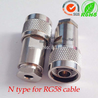 Wholesale N male straight clamp connector for RG142 RG58 LMR195 LMR200 D FB cable N J3 ohm connector N male plug rf connectors