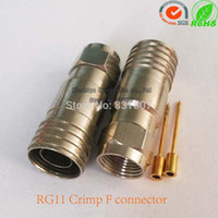 Wholesale Nickel plated brass RG11 crimp F male connector RF coaxial connector RG11 cable plug RF coaxial connector RG59 RG6 RG11 cable