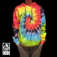 tie dye hoodies - Handmade Tie dye Classic Swirl rainbow colorful Skateboard T shirt Terry lovers Pullover Hoodies Sweatshirts