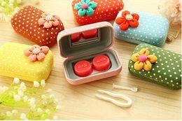 Wholesale 300pcs New Fashion Cute contact lenses box lovely flower contact lens case lens Companion box