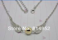 Wholesale Golden Snitch Harry Potter The Deathly Hallows Wing Charm Pendant Chain Necklace