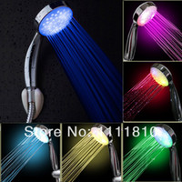 Wholesale pc multi colour Changing bathroom LED Shower Head Automatic Control water powered novelty gift