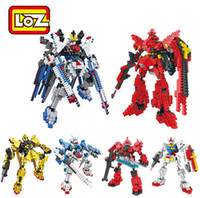 Wholesale Best Toys For Children LOZ Gundam Diamond Action Figure Robot Anime Assembled Scale Models Building Blocks Toys