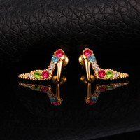 Wholesale Cute Lady Shoe Heels K Gold Plated Mix Colors Rhinestone Studs Earrings Promotion MGC E25064