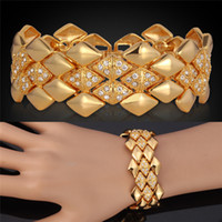 real gold jewelry - Bracelets Big Chunky Hot For Men Women K Real Gold Plated Bangles Rhinestone Crystal Jewelry High Quality Brand MGC H5142