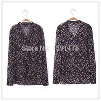 Cheap Free Shipping 2014 Autumn Rosalin Women Full Sleeve V Neck Ruffles Blouse 100% Silk Chiffon Floral Printed Elegent Top RC402115