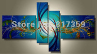acrylic canvas - Hand Painted abstract canvas art Point line and plane DarkTurquoise oil paintings No framed acrylic paintings art pc set