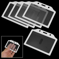 Wholesale 5pcs White Clear Plastic Business Badge Credit Card Holder Case for Students