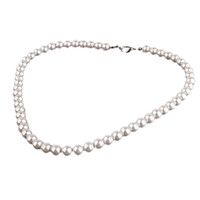 Wholesale Faux Pearl Round Beads Necklace w Solid Metal Clasp