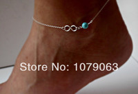 Wholesale Silver Infinity Anklet with Turquoise Something Blue Delicate jewelry Sorority gift Girlfriend gift Wedding