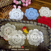 Wholesale 36 Sale Cotton Shabby Chic Vintage Look Crochet Doily cm Cup mat pad Coaster placemats table mats Wedding decoration