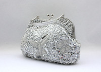 bag slap - The New Beaded Sequined Butterfly With chain Evening Bag Ladies Clutch bag Bride bag Purse Slap up Gentle Party handbags