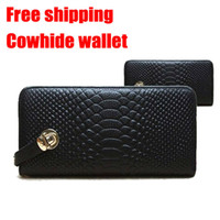Cheap Wholesale-Hot selling Cowhide Leather fashion designer Lady wallet Clutch Purse Evening Bag wholesale handbag free shipping