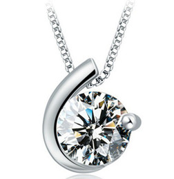 Wholesale 30 Sterling Silver Woman Zirconia Austria Crystal Moon Bay Pendant cm cm Water Necklace Women Party Jewelry Silver Color