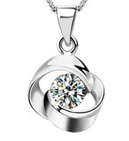 beaded stainless steel necklace - 925 Sterling Silver Pendant New Arrival Austrian Crystal Pendant Water Necklace Silver Color Fashion Jewelry For Women Bohemian Collar