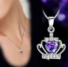 Nouvelle arrivée 925 bijoux en argent sterling Couronne cristal autrichien de mariage Pendentif Violet / Argent Collier Water Wave