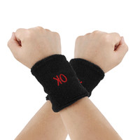 Terry sweatbands - Black Elastic Terry Wrist Sweatband Sports Support