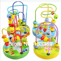 Wholesale Kids educational Wooden blocks Toy Small Around Beads Animal Track Rail Maze Fancy baby Toy Animals Pearl brinquedos education