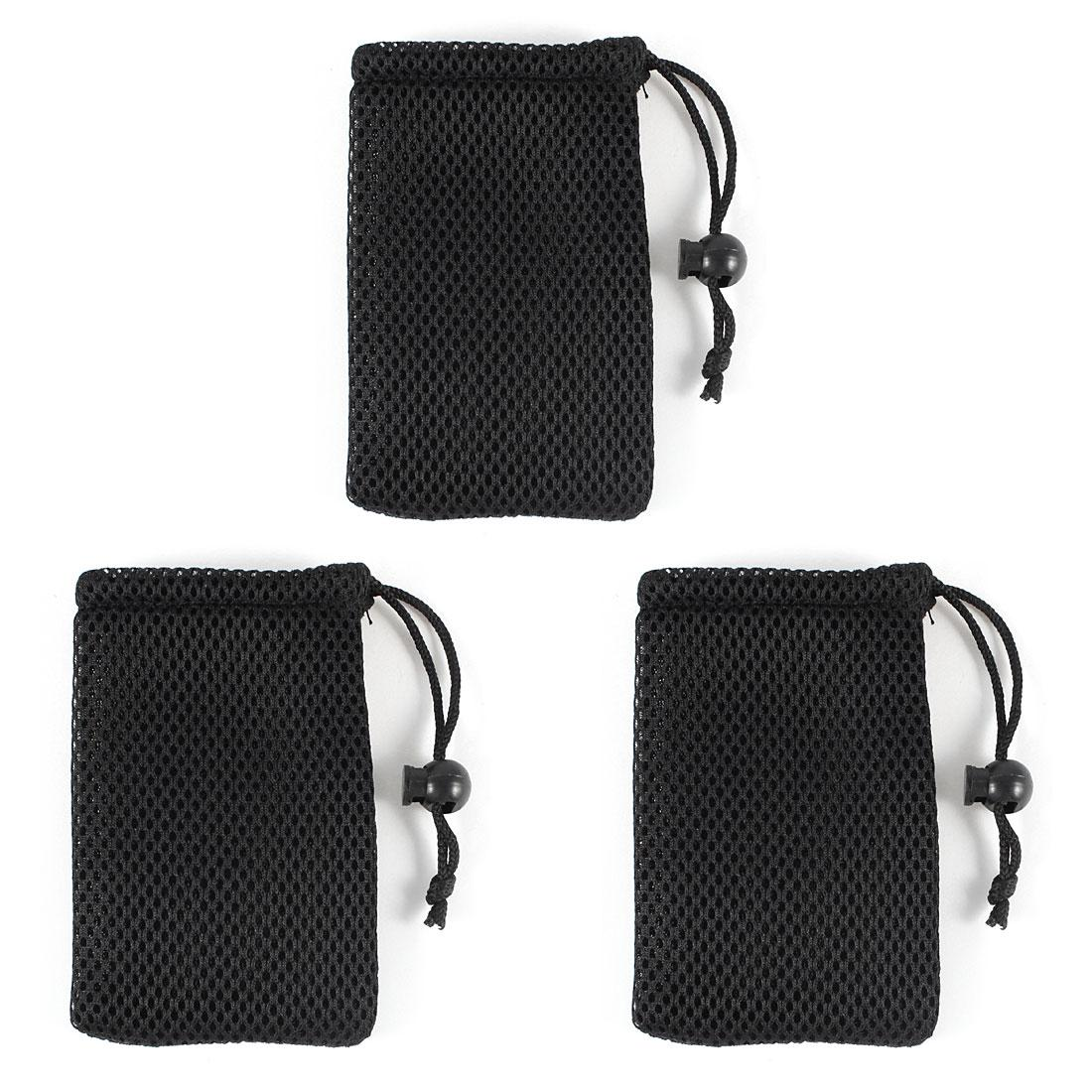 Black Cell Phone Nylon Mesh Drawstring Pouch Bags Mobile Phone ...