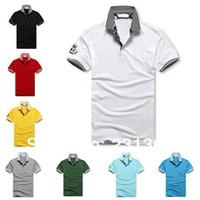 Cheap Wholesale-M L XL XXL, Men's Famous Brand Armaniis Camisa Polo Shirts Short Sleeved Fashion Slim Desigual Man Clothes Free Shipping