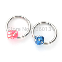 beautiful boy body - Fashion L Stainless Steel Mix Sizes Beautiful Dice BCR Earring Eyebrow Captive Rings Lip Rings Body Piecring Jewelry
