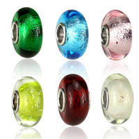 Wholesale High Quality Lampwork European Silver Plated Murano Glass Beads Charms for DIY Bracelet Jewelry Making in Pandora Style