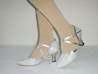 Wholesale Women shoes hexagonal gold and silver color modern shoes ballroom dancing Plaza shoes soft bottom