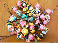 Wholesale Japan anime one piece pvc figure cell phone strap mix order b1756