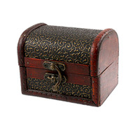 Jewelry Boxes wooden jewelry box - Bronze Tone Embossed Flower Old Stye Wooden Jewelry Box Case