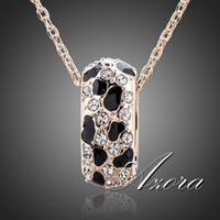 Wholesale AZORA K Rose Gold Plated Leopard Animal Pattern with Magnetic Healing Stone Pendant Necklace TN0090