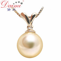 Wholesale DAIMI Natural Gold Pearl Pendant Genuine18K Yellow Gold With Akoya Pearls For Women GRASS