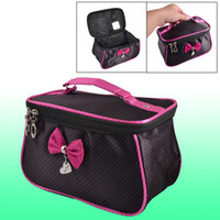 Wholesale Women Dots Printed Fuchsia Bowknot Decor Zipper Cosmetic Bag Pouch Black