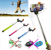Wholesale For travel life Z07 plus Extendable Handheld Monopod Audio cable wired Selfie Stick take photos for IOS Android smart phone