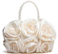 Wholesale Hot Sale Rose Shape Lady Evening Bag Full Dress Party Wedding Clutch Girl Handbag Woman Purse Totes
