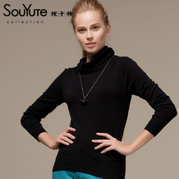 Wholesale-Souyute Women Sweater Solid Color all-match Basic Sweater Turtleneck Sweater B3OB69716