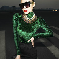 Wholesale Shiny Knitted Velour Velvet sweater pullover jumper turtleneck top women ladies female fashion new autumn winter Red Green