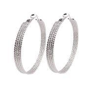 Wholesale Women Glittery Silver Tone Pair Big Loop Hoop Earrings