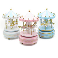 christmas music box - 2014 New Bless Animated Classic Horse Go Round Musical Carousels Box Gift Wooden Merry go round Music Box Christmas Gift