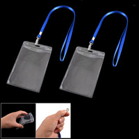 Wholesale 2 Vertical Clear Plastic ID Badge Card Holder w Lanyard Neck Strap