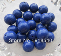 Wholesale Navy Blue Large MM Big Chunky Gumball Bubblegum Acrylic Solid Beads Colorful Chunky Beads for Necklace Jewelry