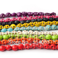 loose shamballa beads - Beads Fasion turquoise stone loose Skull beads Fit shamballa Bracelets diy beads jewelry making mm