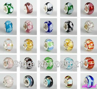 Wholesale Fashion Charms MM Silver Plated Mixed Crystal Big Hole European Beads Fit Bracelets Finding