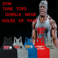 Wholesale Gorilla Wear Classic Tank Top Men s Muscle Gym Tank Tops for Fitness amp Bodybuilding cotton Loose training Suit
