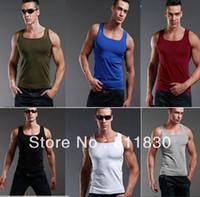 Wholesale Men fashion man cotton top brand mens sport tank top casual t shirt designer clothing for men men clothing