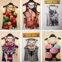 Wholesale d man tight animal camouflage tiger and a variety of styles vest free shippin g